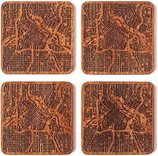 Minneapolis Map Coaster, Set of 4, Sapele Wooden Coaster with city map, Multiple city optional, Handmade