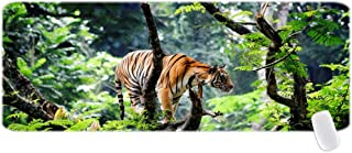 Bengal Tiger in Jungle Customized Mouse Pad for Office and Home Gaming Mouse Pad with Stitched Edges Thick Natrual Rubber 10.3X8.3