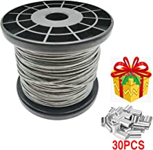 Stainless Steel 304 Wire Rope Vinyl Coated Aircraft Cable  1/20 Inch Thru 1/16 Inch 328 FT Length With 30 PCS Aluminum Crimping Loop