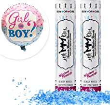 Gender Reveal Confetti Cannon Blue 2 Pack - Baby Reveal Party Supplies with 18 inch Gender Reveal Foil Balloon - Set of 2 Blue Confetti Poppers