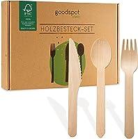 goodspot® Premium Holzbesteck Set 200-teilig FSC-zertifiziert (100 Holzgabeln, 50 Holzlöffel, 50 Holzmesser Holz Besteck...