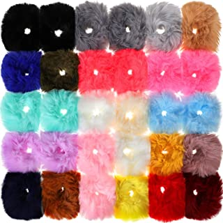30 Pieces Faux Fur Hair Scrunchies Pompom Ball Elastic Hair Band Fluffy Ponytail Holders Pom Hair Ties for Women Hair Accessories, 21 Colors