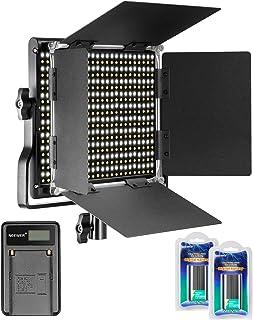 Neewer Regulable Bi-Color 660 LED Luz Video 3200-5600K con Soporte U y Barndoor2 Piezas Batería Recargable Ion-Litio y Cargador USB para Cámaras DSLR Estudio Fotográfico Youtube