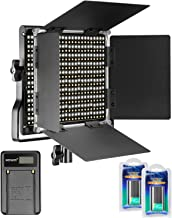 Neewer Dimmable Bi-color 660 LED Video Light 3200-5600K with U Bracket and Barndoor,2 Pieces Rechargeable Li-ion Battery and USB Charger for DSLR Camera Photo Studio Photography,YouTube Video Shooting