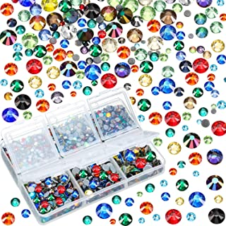 4000 Pieces Mixed Size Hot Fix Round Crystals Gems Glass Stones Hotfix Flat Back Rhinestones (Multicolor)