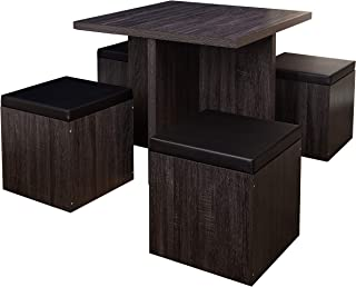 The Mezzanine Shoppe Baxter Modern Dining Room Table and Storage Stool Set, 5 Piece, Black