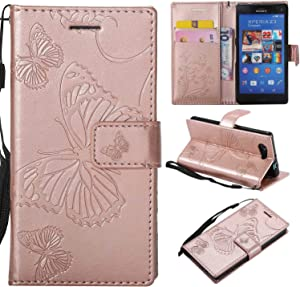 Sony Xperia Compact Case Cover  Bravoday  High Quality Leather   Card ID Holder   Wallet Flip Case   Drop Proof  for Sony Xperia Compact Case -Rose Gold