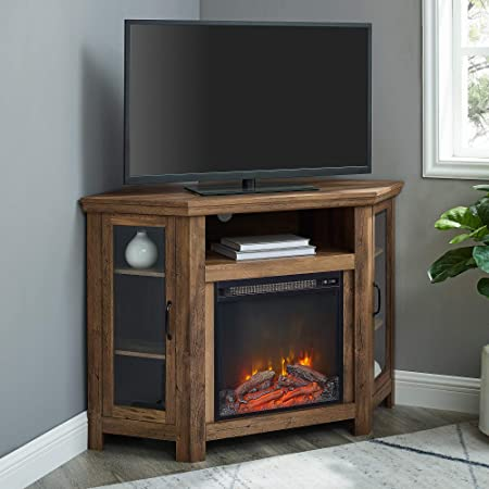Walker Edison Alcott Classic Glass Door Fireplace Corner Tv Stand For Tvs Up To 55 Inches 48 Inch Reclaimed Barnwood Furniture Decor