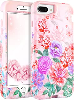 BENTOBEN Case for iPhone 7Plus/8 Plus/6 Plus/6s Plus, Slim Floral Cover Peony flowerHybrid 3 in 1 Hard PC Soft TPU Cover Shockproof Protective Case for iPhone 6/6s/7/8 Plus, Rose Gold/Peony