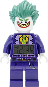 Lego Batman 9009341 The Joker Kids Minifigure Alarm Clock | Purple/Green | Plastic | 9.5 inches Tall | LCD Display | boy Girl | Official
