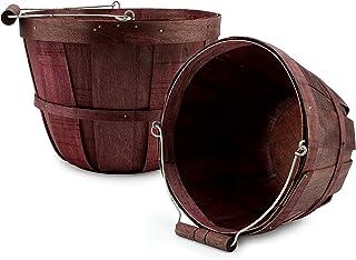 Cornucopia Brands Round Wooden Baskets (2-Pack, Dark Brown); Wood Fruit Buckets with Handle, Gallon Capacity
