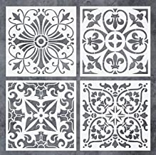 GSS Designs Pack of 4 Stencils Set (8x8 Inch) Tile Stencil Painting On Floor Tiles Wall Fabric Wood Furniture - Laser Cut ...