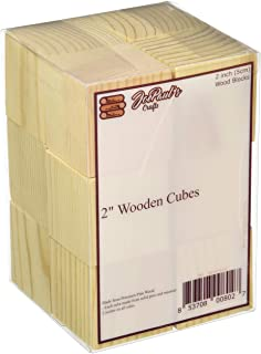 "JoePaul's Crafts 12 pcs - 2"" Wood Blocks Square Wooden Unfinished Craft Cubes - DIY Baby Shower/Stamp Block (Qty 12)"