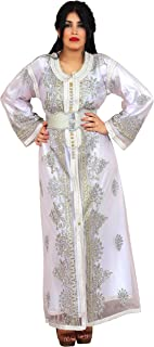 Moroccan Two Layers Caftan Women Handmade Embroidery Small To Large White Complimentary Belt
