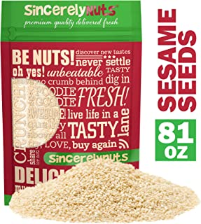 Sincerely Nuts Hulled Sesame Seeds (5Lb Bag) | A Heart Healthy Snack Rich in Fiber, Minerals & Antioxidants | Source of Pl...