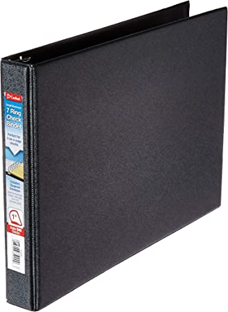 7 Ring 3 on a Page Check Book Binder with Black Cover by Starbinders Black