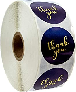 Navy and Gold Foil Thank You Stickers - 1.5