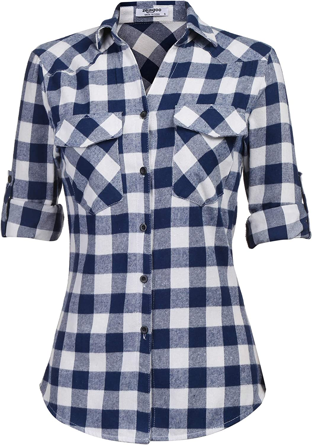 Zeagoo Womens Flannels Long/Roll Up Sleeve Plaid Shirts Cotton Check Gingham Top S-3XL