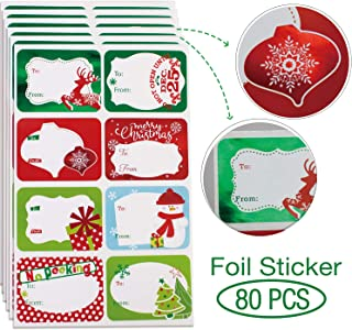 80-Count Foil Christmas Gift Tags Sticker,8 Jumbo Designs - Xmas to from Christmas Stickers Name Tags Write On Labels - Holiday Present Labels