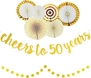 50th Birthday Anniversary Party Decorations for Women and Men - Cheers to 50 Years - Glittery Gold Banner and Circle Garland, Gold and White Decorative Fans