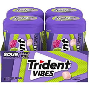 Trident Vibes Sour Berry Twish Sugar Free Gum, 4 Bottles of 40 Pieces (160 Total Pieces)