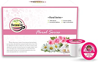 Teasia Floral Decaf Tea Pods, Rooibos Lemongrass Herbal Tea (Caffeine-free), 36-count All Natural GMO-free Single Serving Capsule Compatible with Keurig Brewers