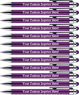 Personalized Pens with Stylus Tip -Bright Lights- Click action - Custom - Black writing - Printed Name pens - Imprinted with Your Logo or Message - FREE PERSONALIZATION - 12 Pens/Box (Purple)