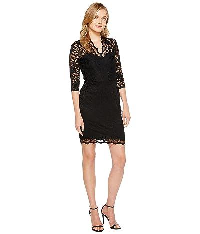 Karen Kane V-Neck Scallop Lace Dress (Black) Women