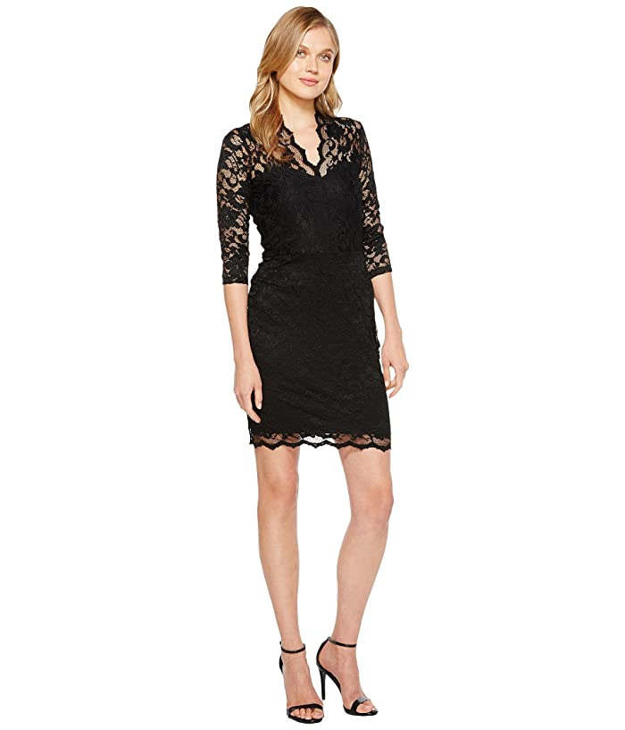Karen Kane V-Neck Scallop Lace Dress (Black) Women's Dress