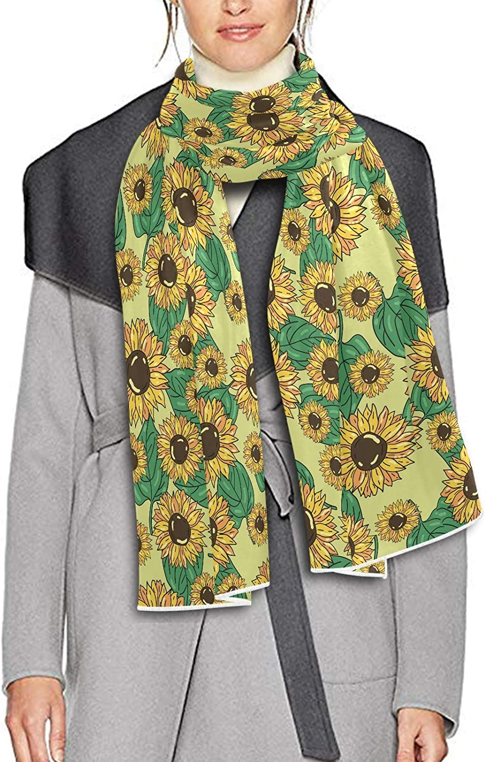 Scarf for Women and Men Sunflower Green Fresh Leaves Blanket Shawl Scarf wraps Thick Soft Winter Oversized Scarf Lightweight