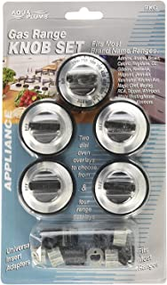ANTOBLE Replacement RKG Gas Range Knob Set Black with Silver Overlay for Aqua Plumb Range 5-Pack