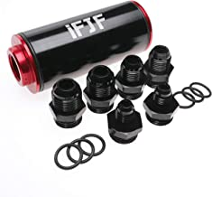 iFJF 50mm Red Filter 100 Micron Cleanable Inline Fuel Filter Mount Universal High Flow Turbo 6AN 8AN 10AN Adapter