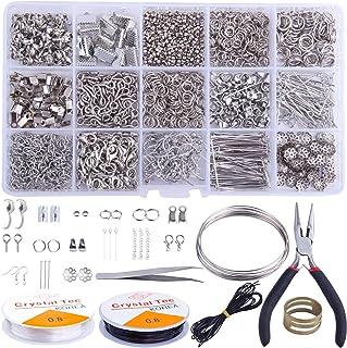 Colle Fabrication Kit de Bijoux Accessoires 1680pcs Bricolage Boucle d'oreille Kit Pinces à Fil Outil pour Réparation de C...