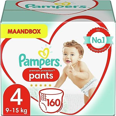 -Pampers Maat 4 Premium Protection Luierbroekjes, 160 Stuks (9-15 kg), MAANDBOX, Pampers N°1 Luierbroekjes voor comfort en bescherming-aanbieding