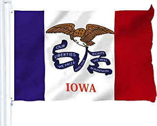 G128 - Iowa State Flag 3x5 ft Printed Brass Grommets 150D Quality Polyester Flag Indoor/Outdoor - Much Thicker and More Durable Than 100D and 75D Polyester