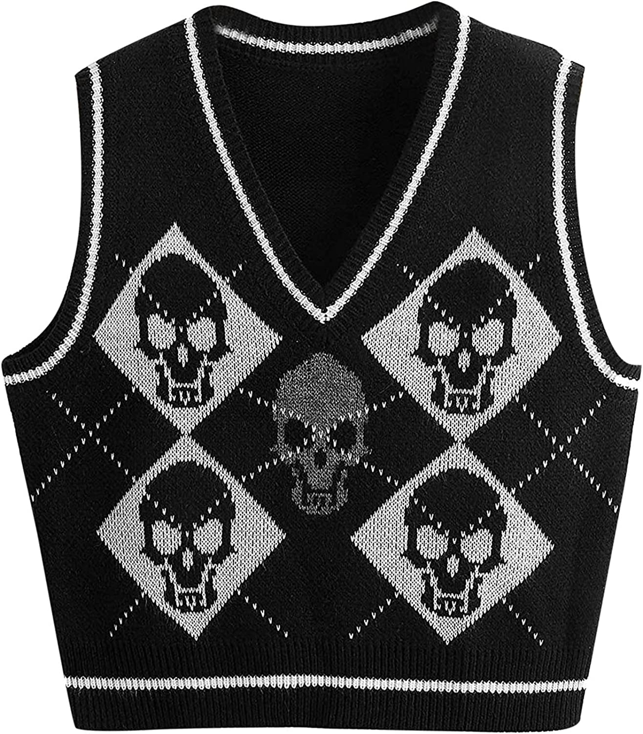 PAPIYON Halloween Sweater Vest for Women Sleeveless Skull Shirts Casual Knitted Sweater V Neck Pullover Sweatshirt