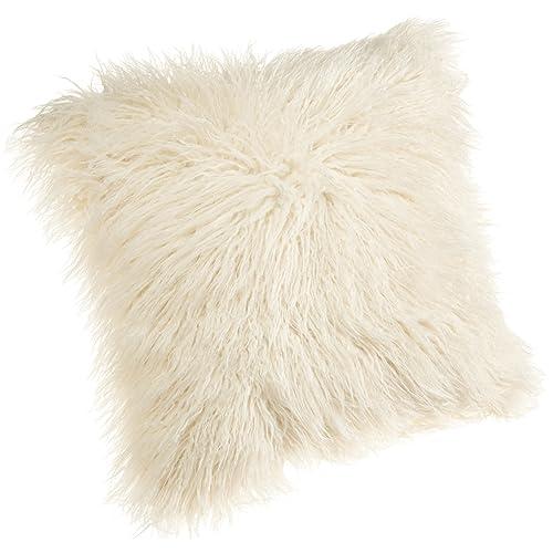 Brentwood 18-Inch Mongolian Faux Fur Pillow, White