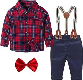 Baby Boy Clothes Set Shirt + Bowtie + Suspender Pants Set...