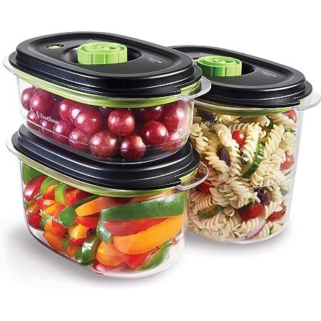Boîtes alimentaires FoodSaver de conservation et marinade | Boîtes alimentaires hermétiques sans BPA | Anti-fuite | Vont au lave-vaisselle | 700 ml, 1.18 L & 1.8 L | 3 unités