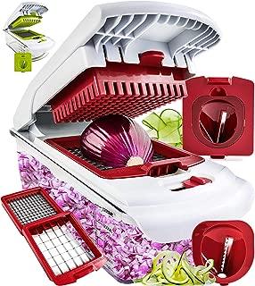 Fullstar Vegetable Chopper - Spiralizer Vegetable Slicer - Onion Chopper with Container - Pro Food Chopper - Red Slicer Dicer Cutter - 4 Blades