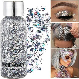 GL-Turelifes Lentejuelas de sirena con purpurina líquida, sombra de ojos, gel para el cuerpo, festival, purpurina, cosméticos, para el pelo, maquillaje de larga duración, brillo de 30 g (01# plata)