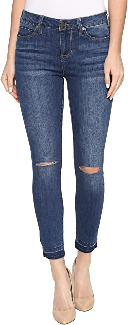 Liverpool - Avery Crop with Released Hem and Slit Knee on Vintage Super Comfort Stretch Denim in Edison Blue Destruct