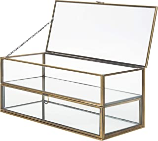 MyGift Vintage Brass Metal & Glass Mirrored Shadow Box Jewelry Display Case