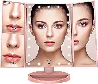 BESTOPE Lighted Makeup Mirror with 3X 2X Magnification,Trifold Mirror with 21 LED Lights,Touch Screen, 180° Adjustable Rotation,Dual Power Supply,Best Travel Tabletop Cosmetic Vanity Mirror (Rose Gold)