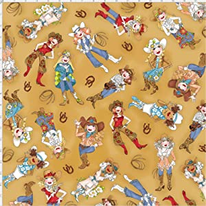 Loralie Designs - Tossed Cowgirls Tan Fabric by The Yard for Sewing - Loralie's Cowgirl Fabric Collection - tan Cowgirl Fabric - 100% Cotton/Washable
