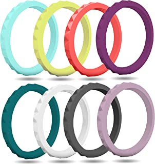 Silicone Wedding Ring for Women (8 Pack) Stackable Thin Rubber Bands - Diamond Pattern Rings