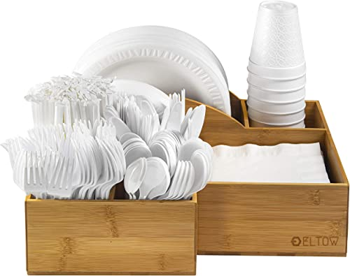 new arrival Eltow sale Bamboo Plate and Cutlery Organizer: Large Kitchen Spoon, Fork, Knives and Cups Holder - Stylish and Sturdy Bowl, Napkin and Tableware Dispenser - Home, Restaurant, BBQ 2021 and Picnic Plate Organizer online sale