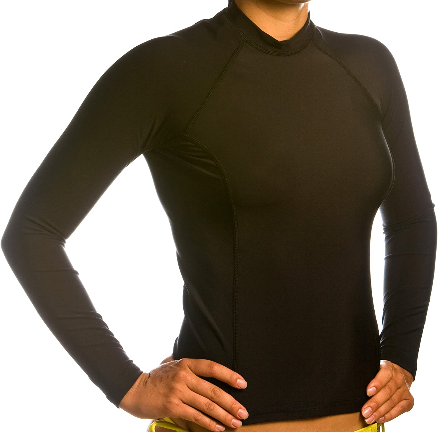 Beach Depot Women's Black Long Sleeve Rash Guard SPF 50+ Swim Shirt