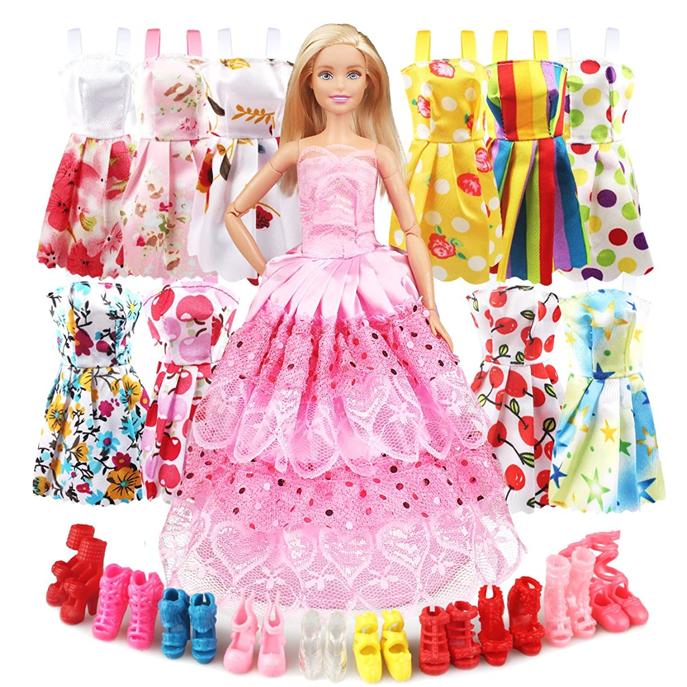 Eligara Doll Clothes and Accessories, Baby Doll Clothes Dresses Shoes Sets Include 10 Pack Doll Party Outfits 1 Sewing Dress & 10 Pairs Doll Shoes for Girl's Birthday