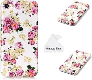 iPhone 7 ケース 花柄 プリント デザイン TPU ケース カバー スキン 保護用 Apple iPhone 7 4.7インチ用 無料クリーニングクロス付き B01LXT037C